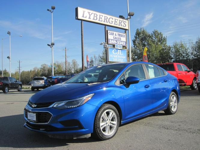 2018 blue /black Chevrolet Cruze LT Auto (1G1BE5SM8J7) with an 1.4L L4 DOHC 16V TURBO engine, 6A transmission, located at 9530 Old Seward Highway, Anchorage, AK, 99515, (907) 349-3343, 61.134140, -149.865570 - Photo #0
