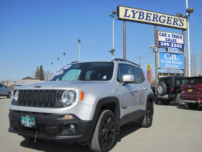 2018 silver /black Jeep Renegade Latitude 4WD (ZACCJBBBXJP) with an 2.4L L4 DOHC 16V engine, 6M transmission, located at 9530 Old Seward Highway, Anchorage, AK, 99515, (907) 349-3343, 61.134140, -149.865570 - Photo #0