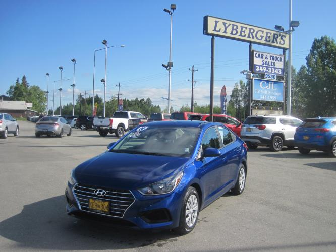2019 blue /black Hyundai Accent SE 4-Door 6A (3KPC24A32KE) with an 1.6L L4 DOHC 16V engine, 6A transmission, located at 9530 Old Seward Highway, Anchorage, AK, 99515, (907) 349-3343, 61.134140, -149.865570 - Photo #0