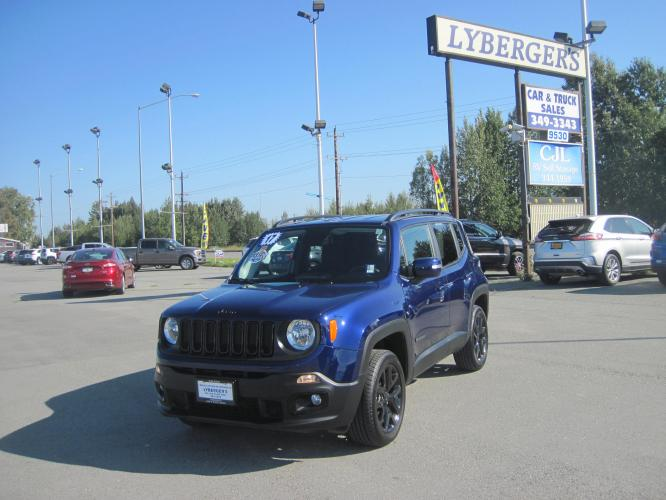2017 blue /black Jeep Renegade Altitude 4WD (ZACCJBBB8HP) with an 2.4L L4 DOHC 16V engine, 6M transmission, located at 9530 Old Seward Highway, Anchorage, AK, 99515, (907) 349-3343, 61.134140, -149.865570 - Photo #0
